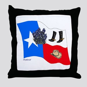 TEXAS BOOTS AND BLUEBONNETS Throw Pillow