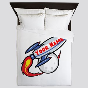 Personalized rocket Queen Duvet