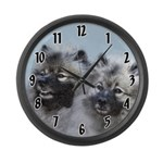 Keeshond Brothers Large Wall Clock