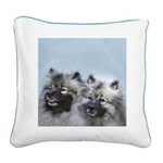 Keeshond Brothers Square Canvas Pillow
