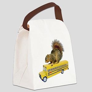 Squirrel on School Bus Canvas Lunch Bag