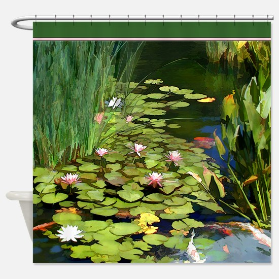 Koi Pond and Water Lilies copy.jpg Shower Curtain