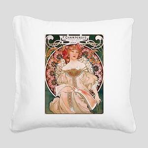 Alphonse Mucha Reverie Square Canvas Pillow