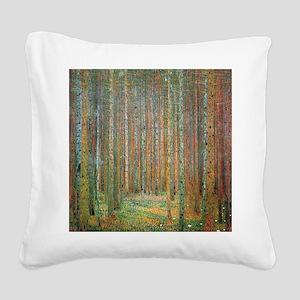 Gustav Klimt Pine Forest Square Canvas Pillow