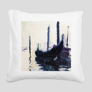 Monet Gondola in Venice Square Canvas Pillow