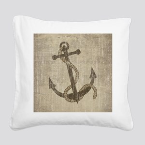 Vintage Anchor Square Canvas Pillow