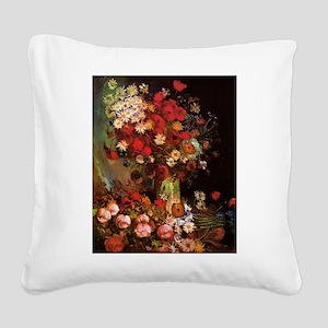 Van Gogh Flowers Square Canvas Pillow