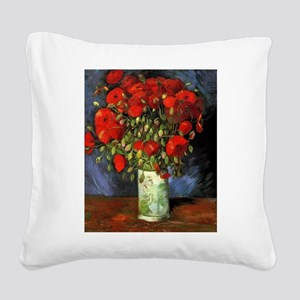 Van Gogh Red Poppies Square Canvas Pillow