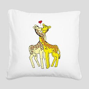 Giraffes In Love Square Canvas Pillow