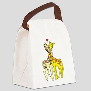 Giraffes In Love Canvas Lunch Bag
