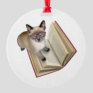 Kitten Book Round Ornament
