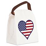 American Flag Heart Canvas Lunch Bag
