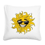 Smiley Face Sun Square Canvas Pillow