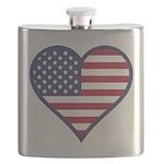American Flag Heart Flask