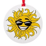 Smiley Face Sun Round Ornament