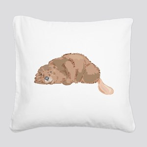 Cute Beaver Square Canvas Pillow
