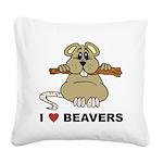 I Love Beavers Square Canvas Pillow