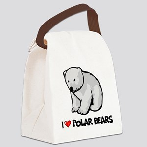I Love Polar Bears Canvas Lunch Bag