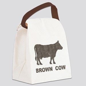 Vintage Brown Cow Canvas Lunch Bag
