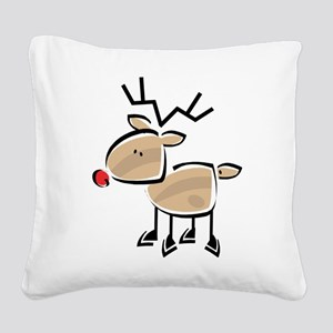 Reindeer Square Canvas Pillow
