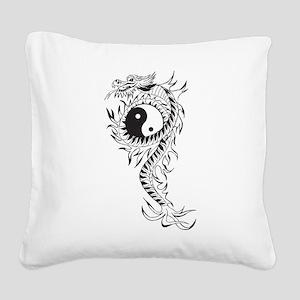 Yin Yang Dragon Square Canvas Pillow