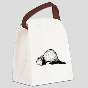 Hand Sketched Ferret Canvas Lunch Bag