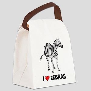 I Love Zebras Canvas Lunch Bag