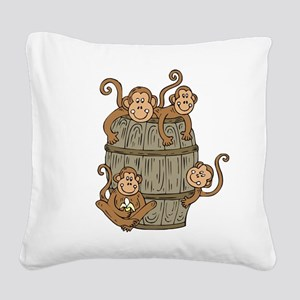 Barrel Monkey Square Canvas Pillow