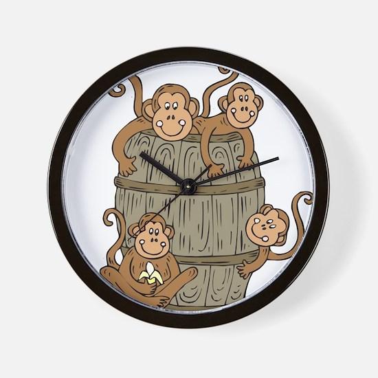 Barrel Monkey Wall Clock