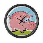 Happy Pig Large Wall Clock