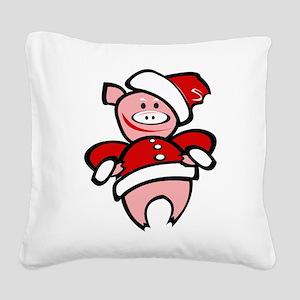 Christmas Pig Square Canvas Pillow