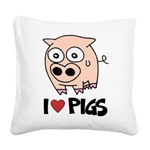 I Love Pigs Square Canvas Pillow