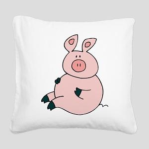 Cute Pig Square Canvas Pillow