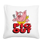 Pig Out Square Canvas Pillow