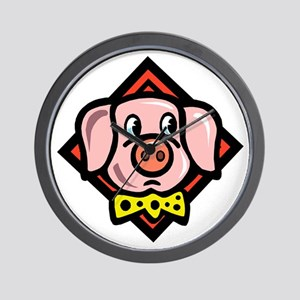 Pig With Tie Wall Clock