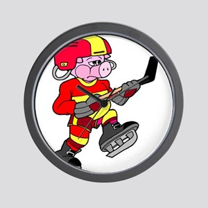 Ice Hockey Pig Wall Clock