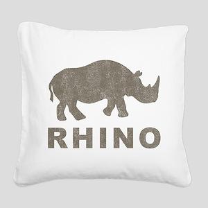 Vintage Rhino Square Canvas Pillow