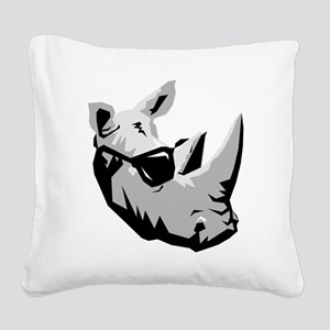 Cool Rhinoceros Square Canvas Pillow