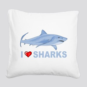 I Love Sharks Square Canvas Pillow