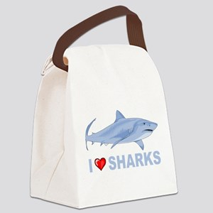 I Love Sharks Canvas Lunch Bag