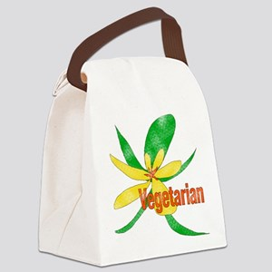 Vegetarian Flower Canvas Lunch Bag