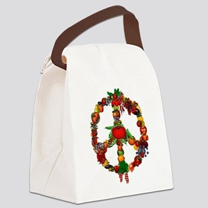 Veggie Peace Sign Canvas Lunch Bag
