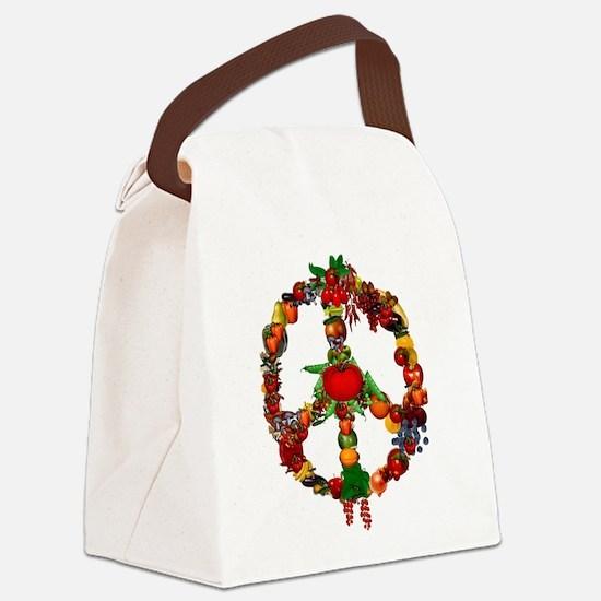 Veggie Peace Sign Canvas Lunch Bag