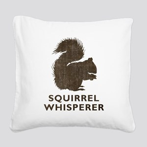 Vintage Squirrel Whisperer Square Canvas Pillow