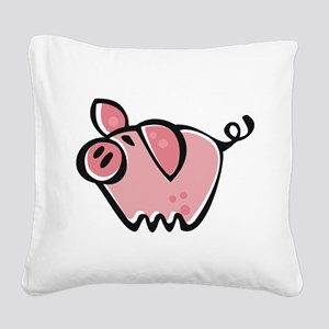 Cute Cartoon Pig Square Canvas Pillow