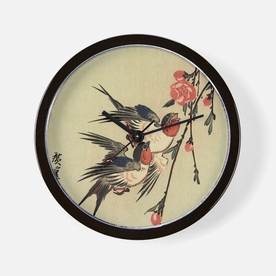 Hiroshige Swallows and Peach Blossoms Wall Clock