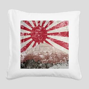 Vintage Mount Fuji Square Canvas Pillow