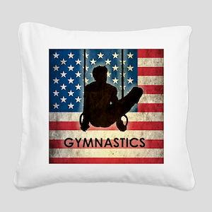 Grunge USA Gymnastics Square Canvas Pillow
