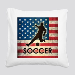 Grunge USA Soccer Square Canvas Pillow