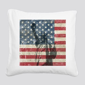 Vintage Statue Of Liberty Square Canvas Pillow